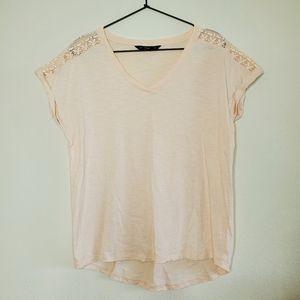 F&F Peach Crochet Sleeve V Neck Tshirt
